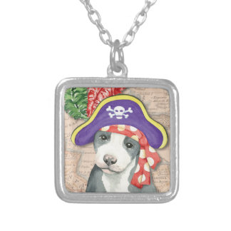 Pit Bull Terrier Pirate Silver Plated Necklace