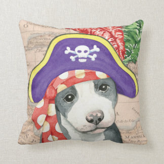 Pit Bull Terrier Pirate Throw Pillow