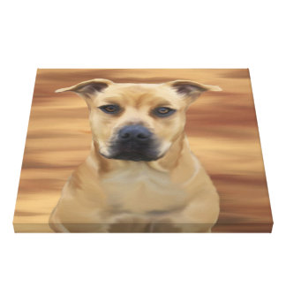 Pit Bull Terrier Simulated Oil Painting Canvas Prints