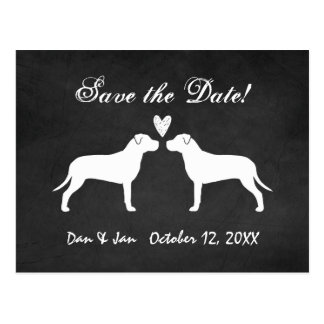Pit Bull Terriers Wedding Save the Date Postcard