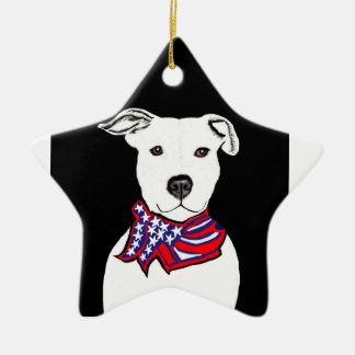 Pit bull wearing Americanflag bandana Christmas or Christmas Ornament
