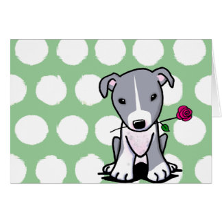 Pit Bull With Flower Greeting Card