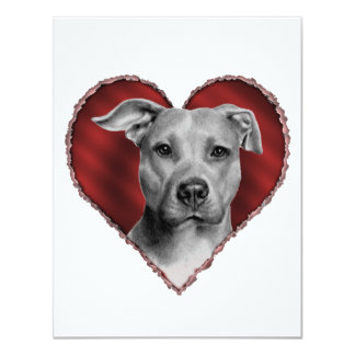 Pit Bull with Heart 11 Cm X 14 Cm Invitation Card