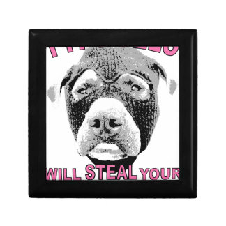 PIT BULLS WILL STEAL YOUR HEART SMALL SQUARE GIFT BOX