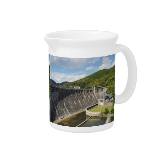 Pit Cher Edersee concrete dam in the summer Beverage Pitcher