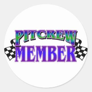 Pit Crew Member Round Sticker