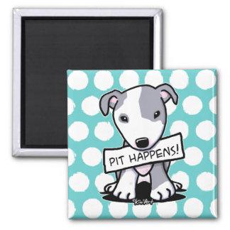 Pit Happens Pit Bull Dog Square Magnet