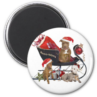 Pitbill Terrier Santa s Helpers Magnets