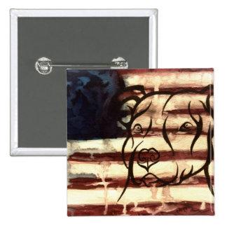 Pitbull American 15 Cm Square Badge