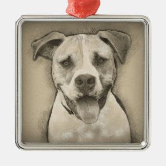 Pitbull - American Bulldog Pencil Sketch portrait Silver-Colored Square Decoration