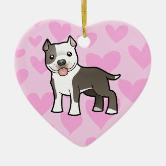 Pitbull / American Staffordshire Terrier Love Ceramic Heart Decoration