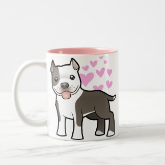 Pitbull / American Staffordshire Terrier Love Two-Tone Coffee Mug