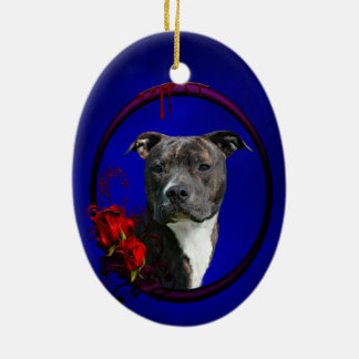 Pitbull and bloody roses christmas ornament