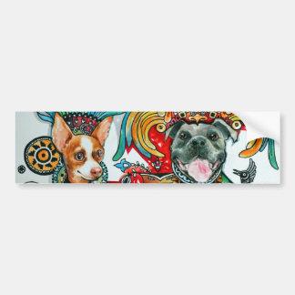Pitbull and Chihuahua Bumper Sticker