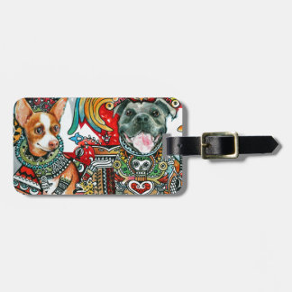 Pitbull and Chihuahua Luggage Tag