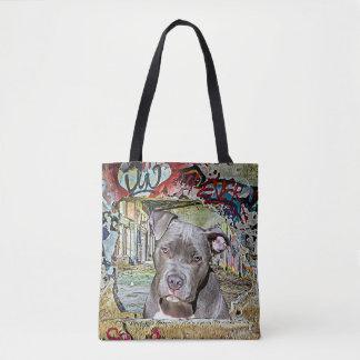 Pitbull and Hairless Cat Graffiti Artwork Tote Bag