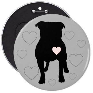Pitbull And Hearts Button! Other Sizes! 6 Cm Round Badge