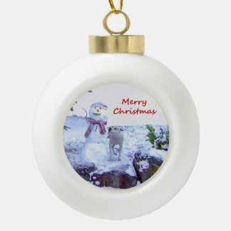 Pitbull and Snowman Christmas Ceramic Ball Decoration
