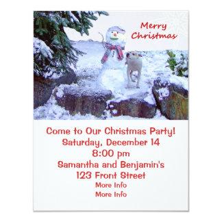 "Pitbull and Snowman Christmas Invitations 4.25"" X 5.5"" Invitation Card"