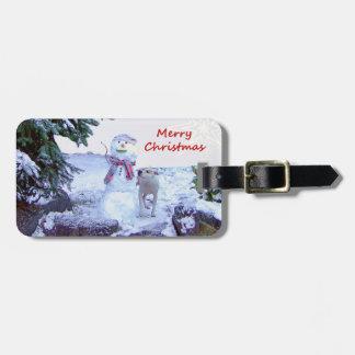 Pitbull and Snowman Christmas Tags For Bags