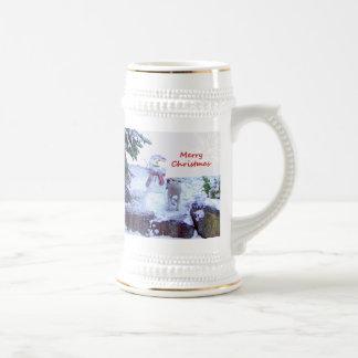 Pitbull and Snowman Christmas Coffee Mugs