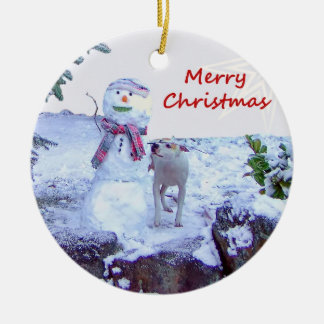 Pitbull and Snowman Christmas Round Ceramic Decoration