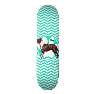 Pitbull; Aqua Green Chevron Skate Board Decks