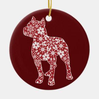 Pitbull, Boho Christmas Snowflakes Round Ceramic Decoration