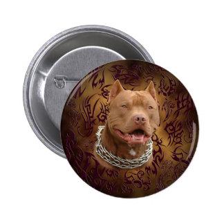 Pitbull brown tribal tattoo 6 cm round badge