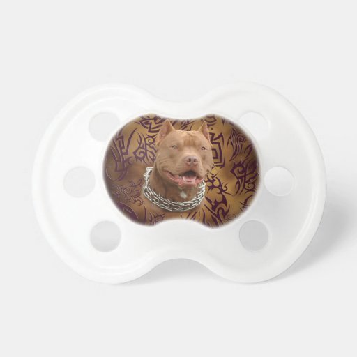 Pitbull brown tribal tattoo pacifiers