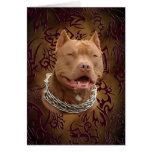 Pitbull brown tribal tattoo greeting card