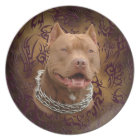 Pitbull brown tribal tattoo plate