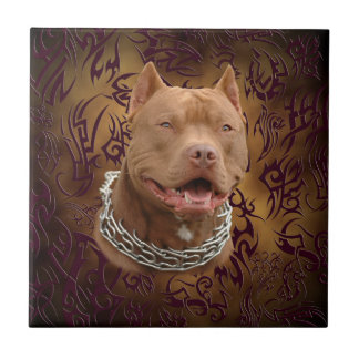 Pitbull brown tribal tattoo small square tile