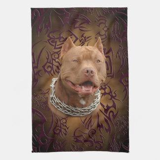 Pitbull brown tribal tattoo tea towel