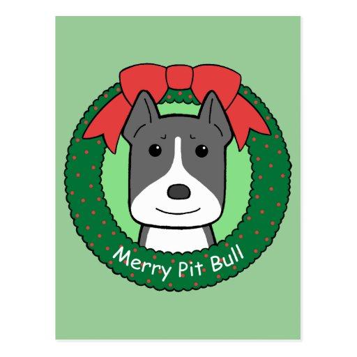 Pitbull Christmas Post Cards
