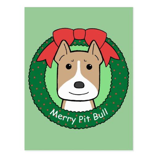 Pitbull Christmas Postcard