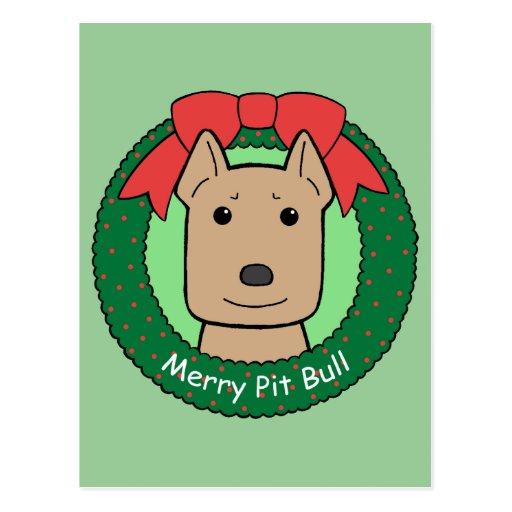 Pitbull Christmas Postcards