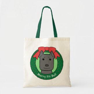 Pitbull Christmas Tote Bag