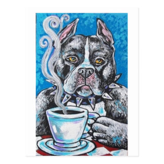 pitbull coffee postcard