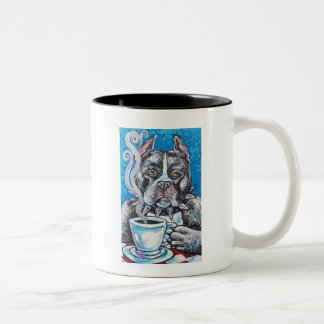 pitbull coffee Two-Tone coffee mug