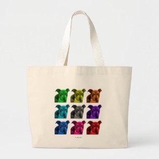 pitbull dog art 0785 large tote bag