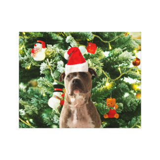 Pitbull Dog Christmas Tree Ornaments Snowman Gallery Wrap Canvas