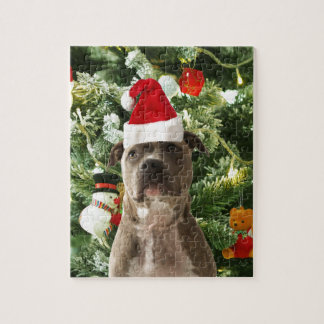 Pitbull Dog Christmas Tree Ornaments Snowman Jigsaw Puzzle