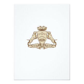 Pitbull Dog Coat of Arms Etching 14 Cm X 19 Cm Invitation Card