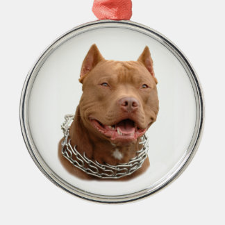 Pitbull dog Silver-Colored round decoration
