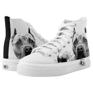 Pitbull dog high top tennis shoes