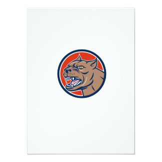 Pitbull Dog Mongrel Head Circle Cartoon 14 Cm X 19 Cm Invitation Card