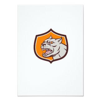 Pitbull Dog Mongrel Head Shield Cartoon 11 Cm X 16 Cm Invitation Card