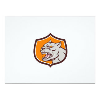 Pitbull Dog Mongrel Head Shield Cartoon 17 Cm X 22 Cm Invitation Card