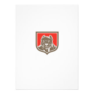 Pitbull Dog Mongrel Head Shield Woodcut Custom Invitations